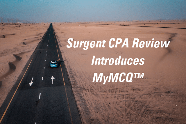 Car Driving Down Road with Text Surgent CPA Review Introduces MyMCQ